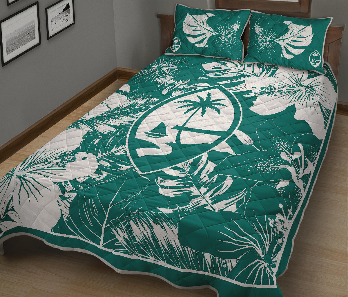 Guam Hibiscus Teal Quilt Bedding Set