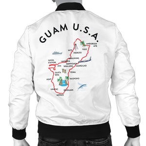 New Guam Map Striped Sleeves Men's White Bomber Jacket