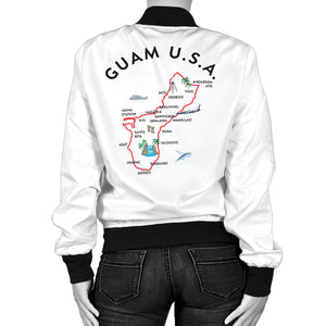 New Guam Map Striped Sleeves Women's White Bomber Jacket