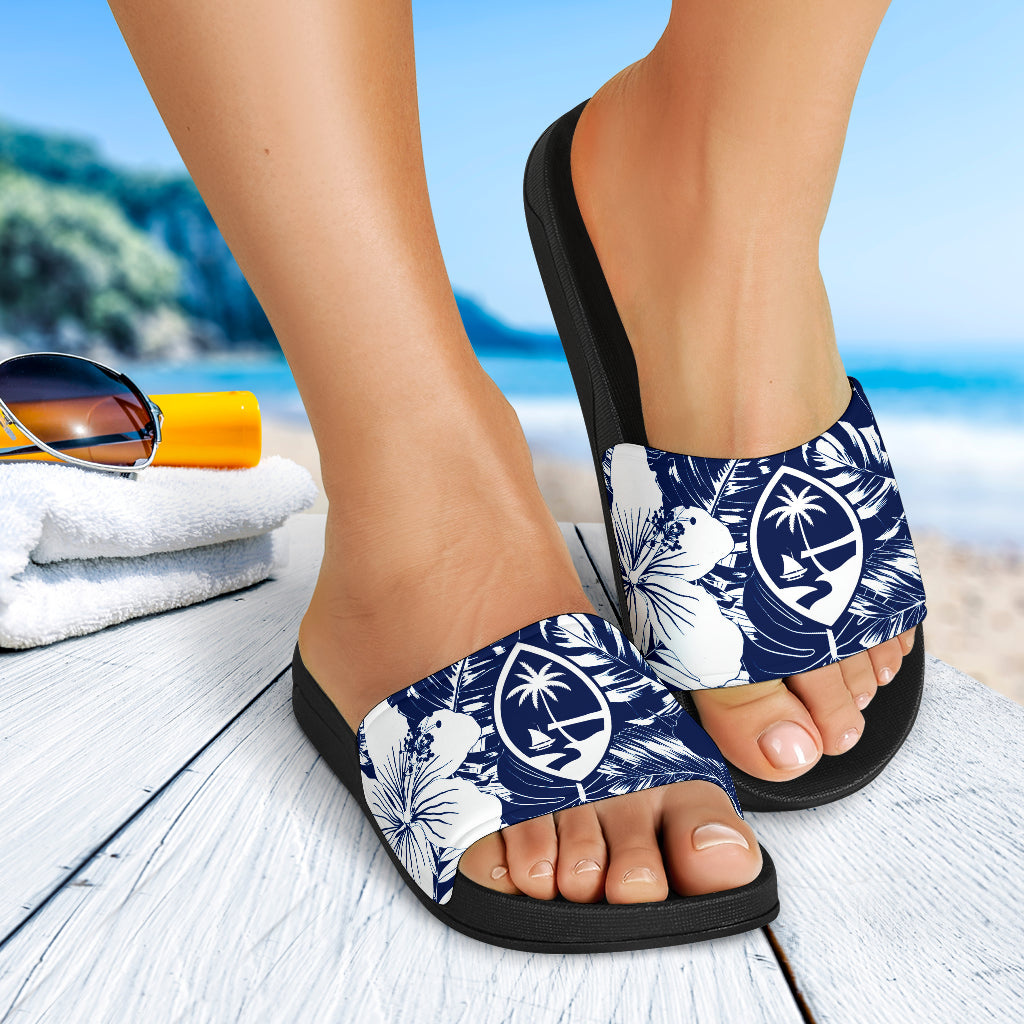 Guam Seal Island Flowers Navy Blue Slide Sandals