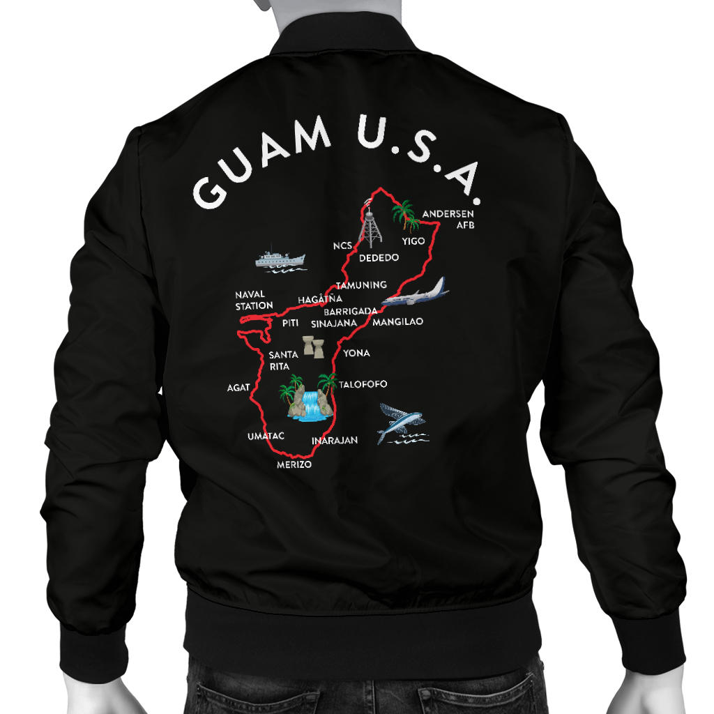 New Guam Map Striped Sleeves Men's Black Bomber Jacket