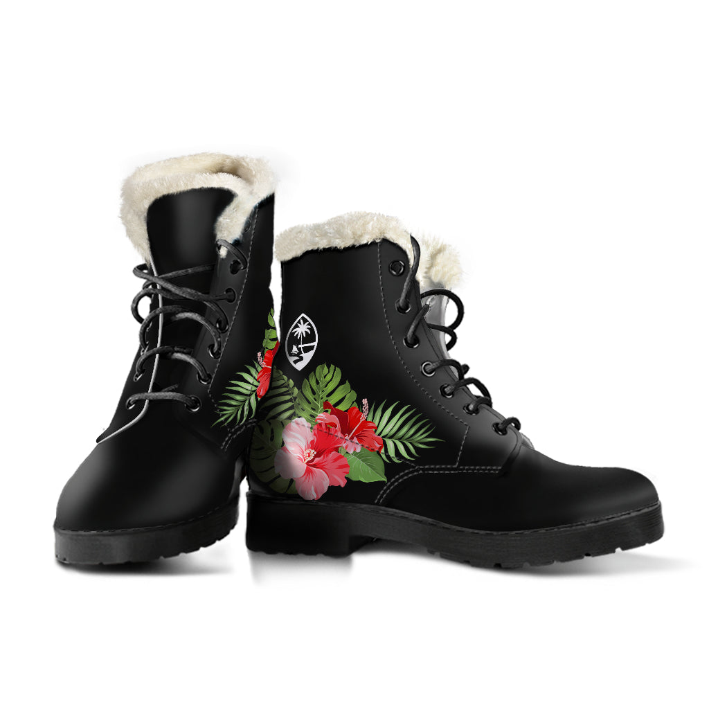 Guam Red Hibiscus Faux Fur Leather Boots