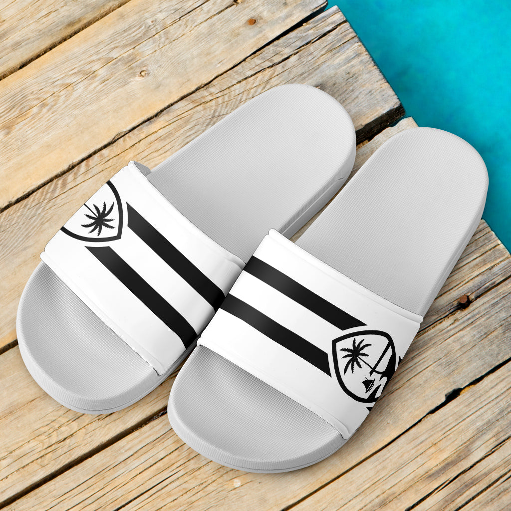 Guam Seal Striped White Slide Sandals