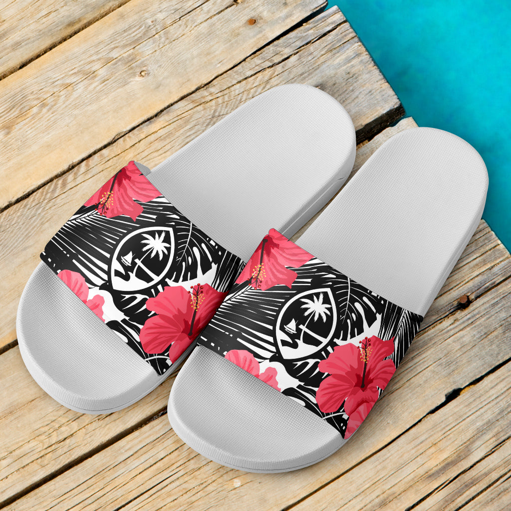 Guam Pink Black Hibiscus Coconut Leaves White Slide Sandals