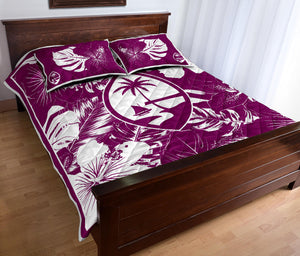 Guam Hibiscus Purple Quilt Bedding Set