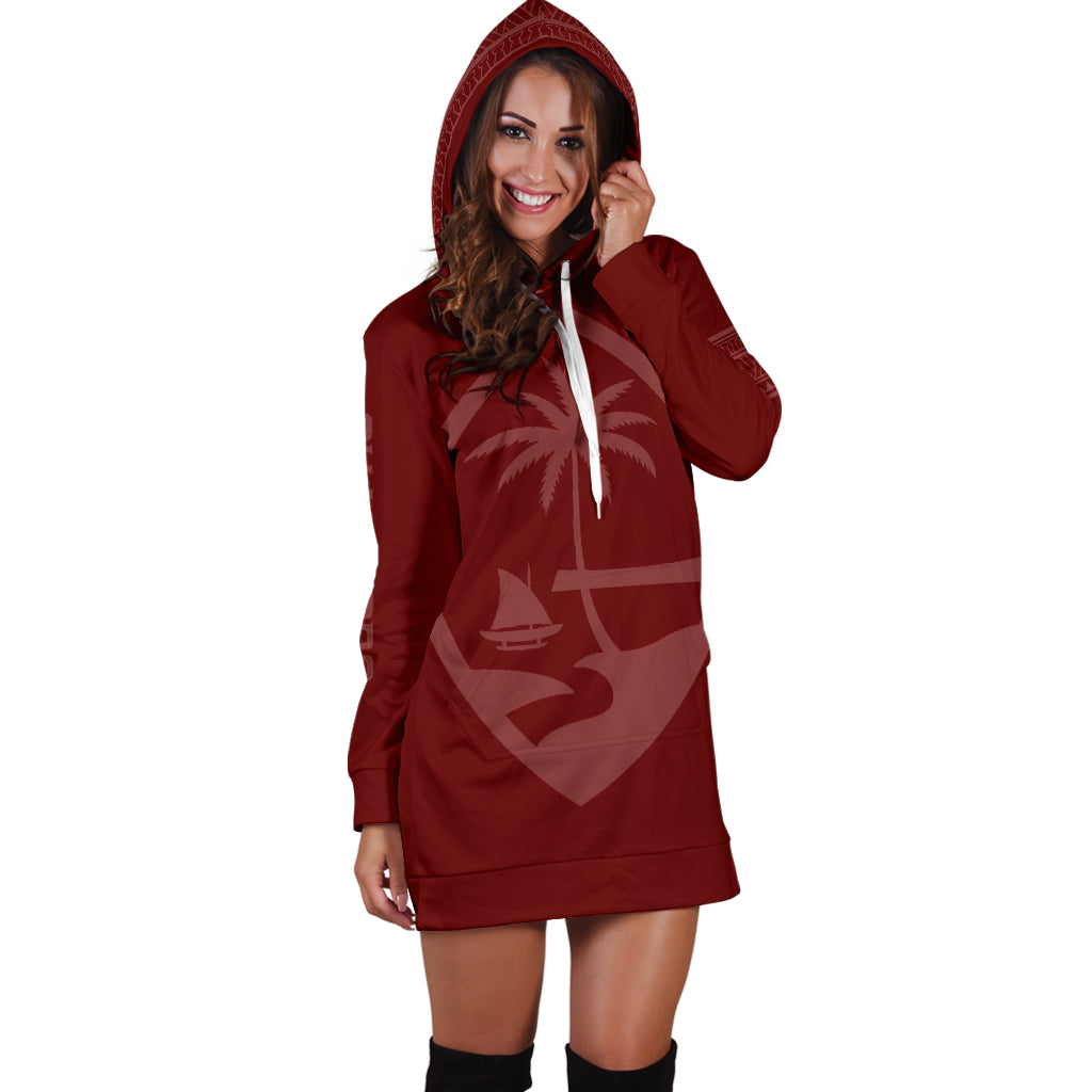 Chamorro Tribal Maroon Hoodie Dress with Express Shipping