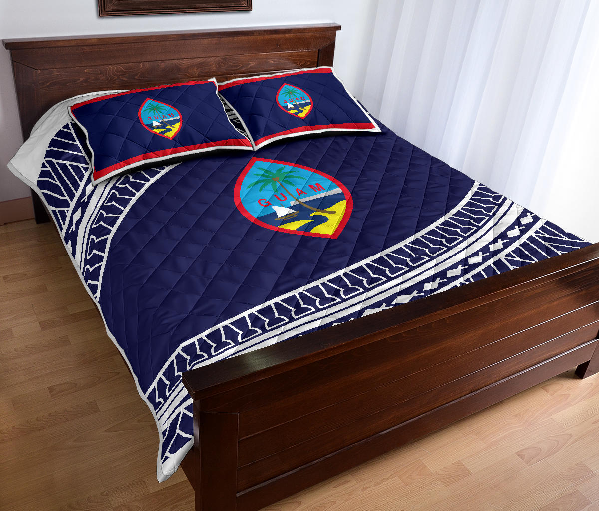Guam Seal Tribal Blue Quilt Bedding Set