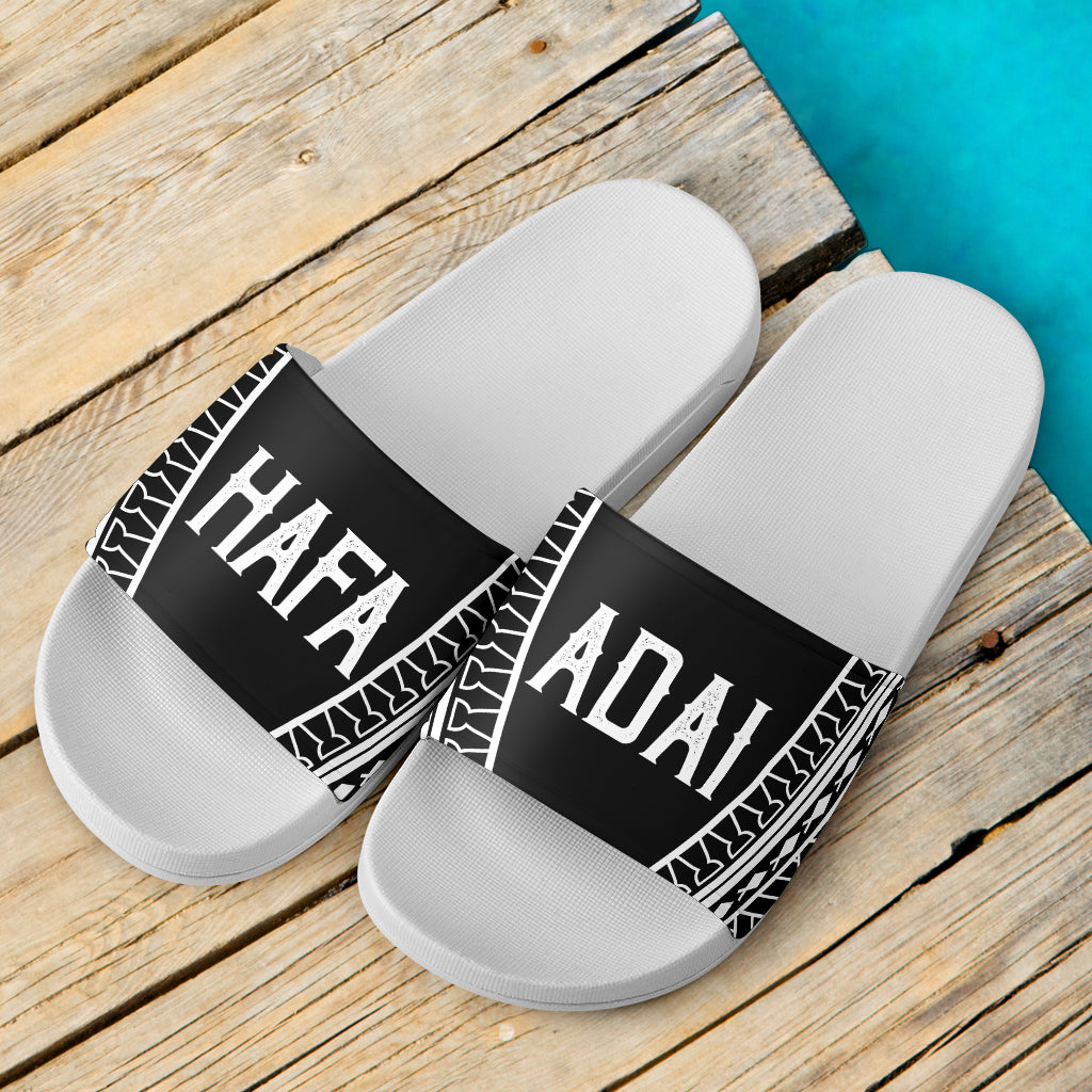 Hafa Adai Guam Saipan CNMI Tribal White Slide Sandals