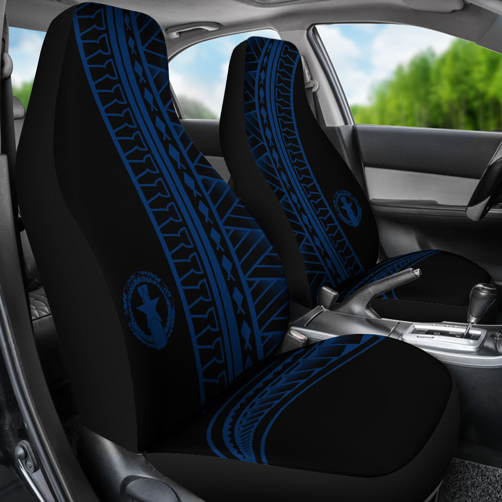 CNMI Saipan Tinian Rota Blue Tribal Car Seat Covers (Set of 2)