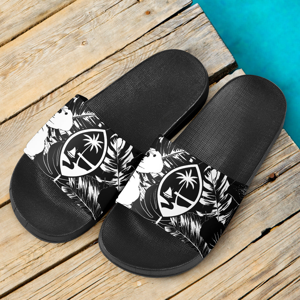 Guam Seal Island Flowers Black Slide Sandals