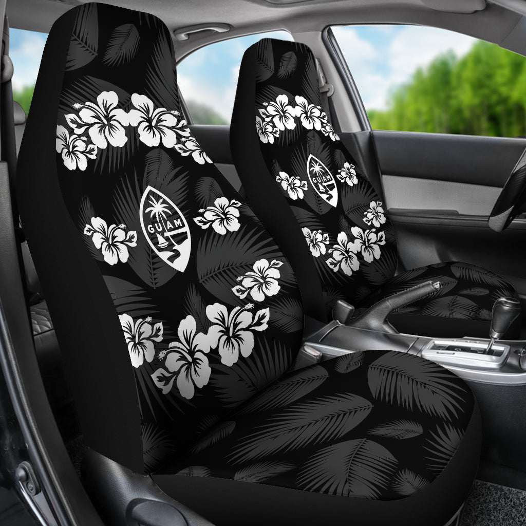 Guam Seal Gray Hibiscus Palm Leaves Car Seat Covers (Set of 2)