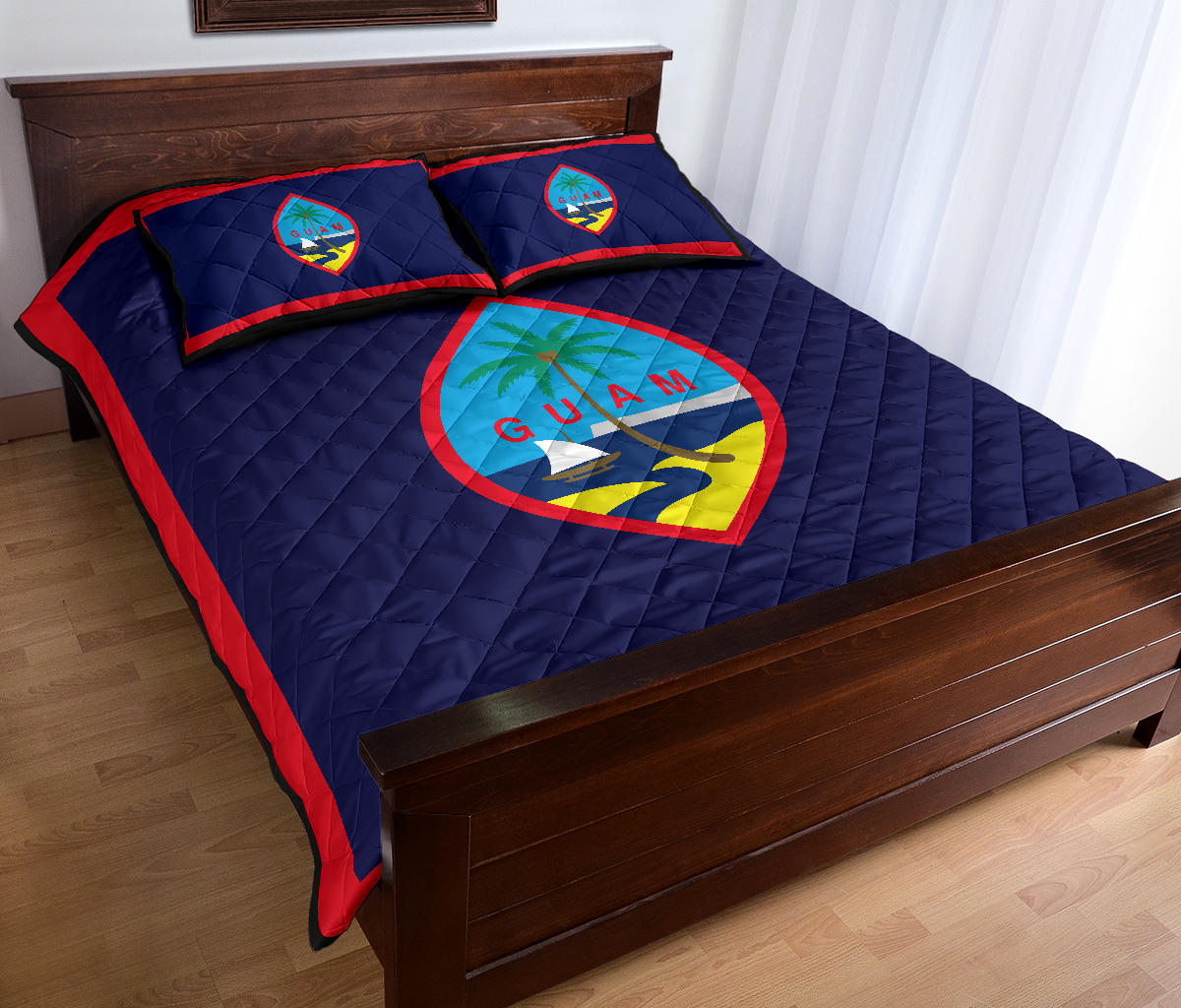 Guam Flag Quilt Bedding Set