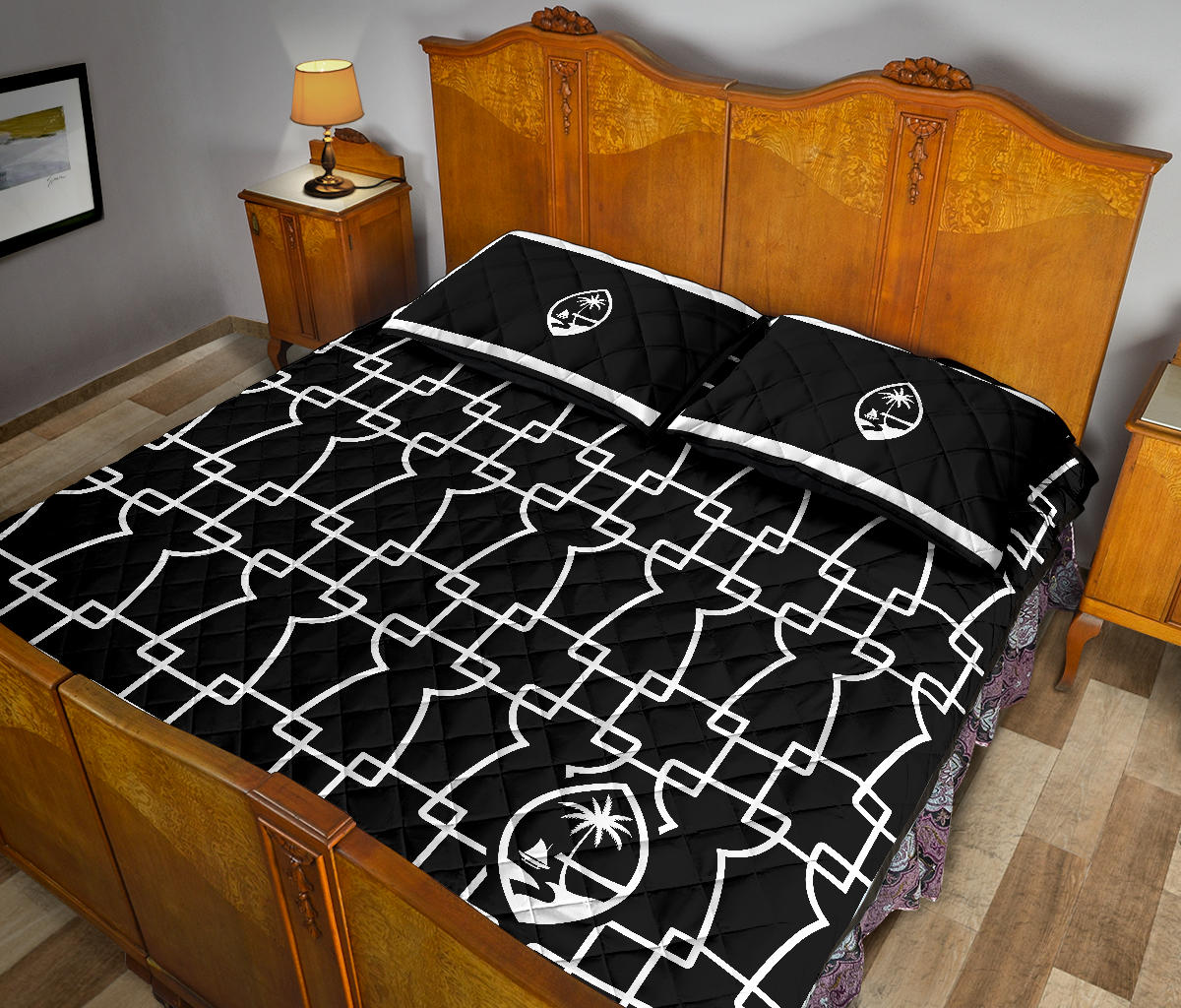 Geometric Latte Guam Quilt Bedding Set