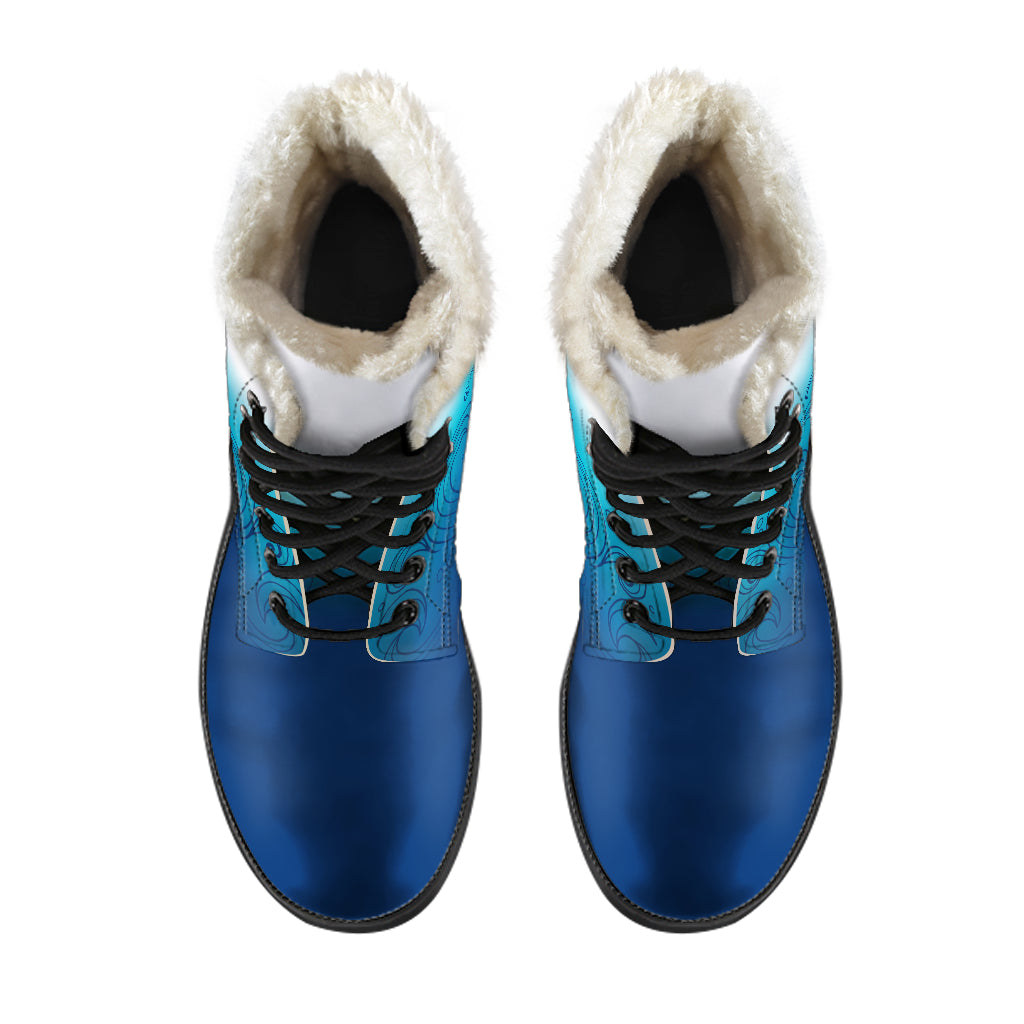 Guam Seal Ombre Waves Faux Fur Leather Boots