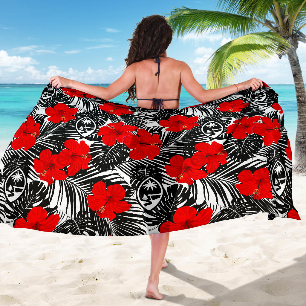 Guam Red Hibiscus Coconut Leaves Sarong