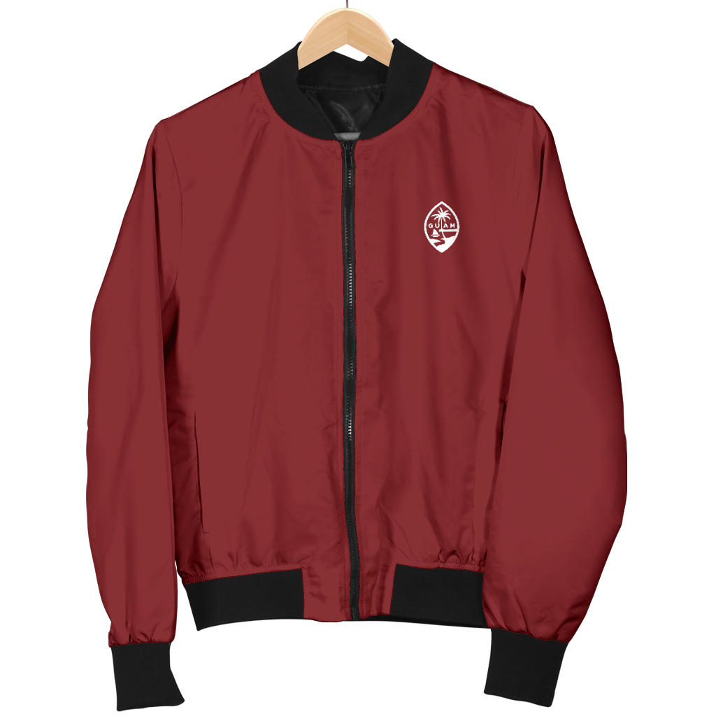 New Guam Map Women's Maroon Bomber Jacket with Express Shipping