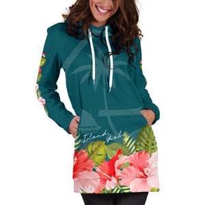 Guam Island Girl Hibiscus Teal Long Hoodie Dress