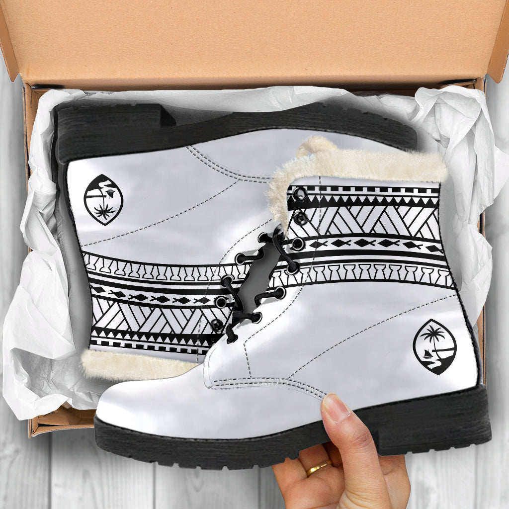 Guam Seal Tribal White Faux Fur Leather Boots
