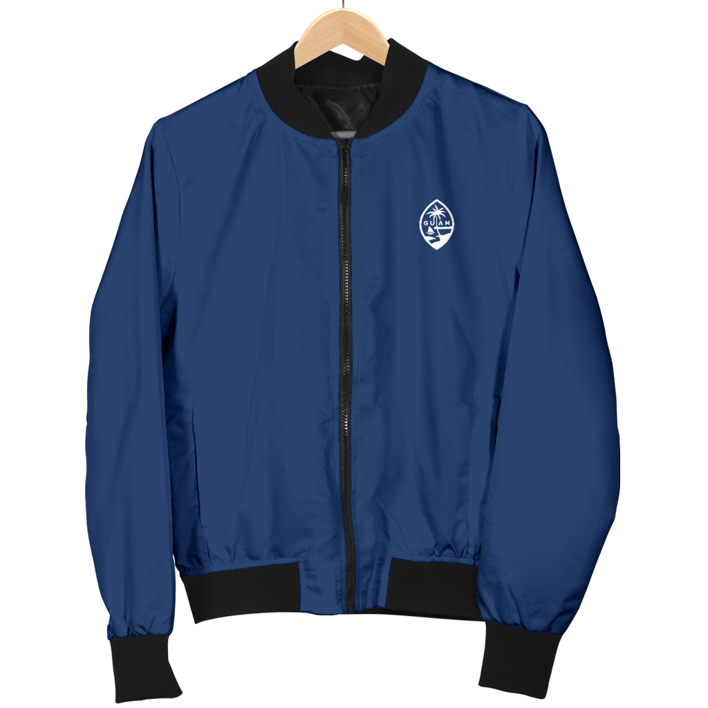 Guam Map Men's Blue Bomber Jacket with Express Shipping
