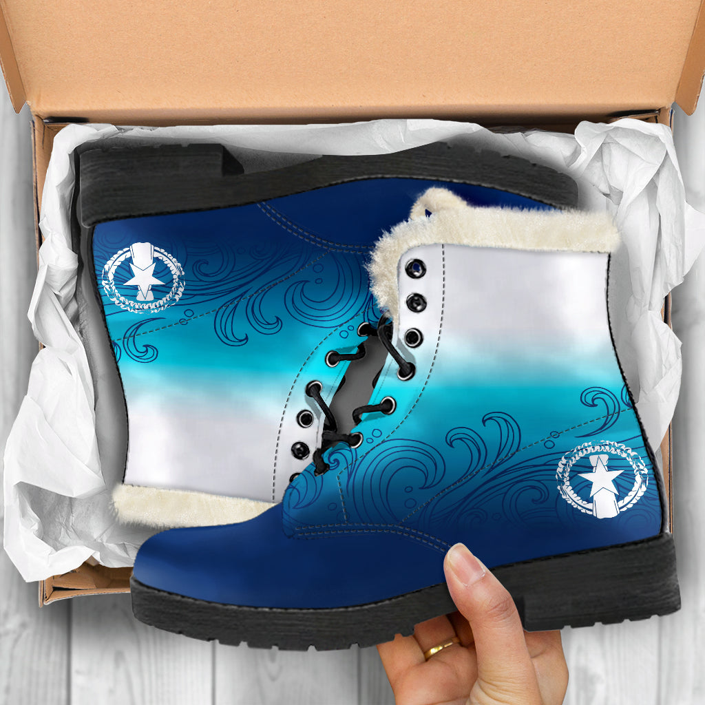 CNMI Seal Saipan Ombre Waves Faux Fur Leather Boots