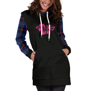 Hibiscus Pink and Blue Guam CNMI Island Plaid Hoodie Dress
