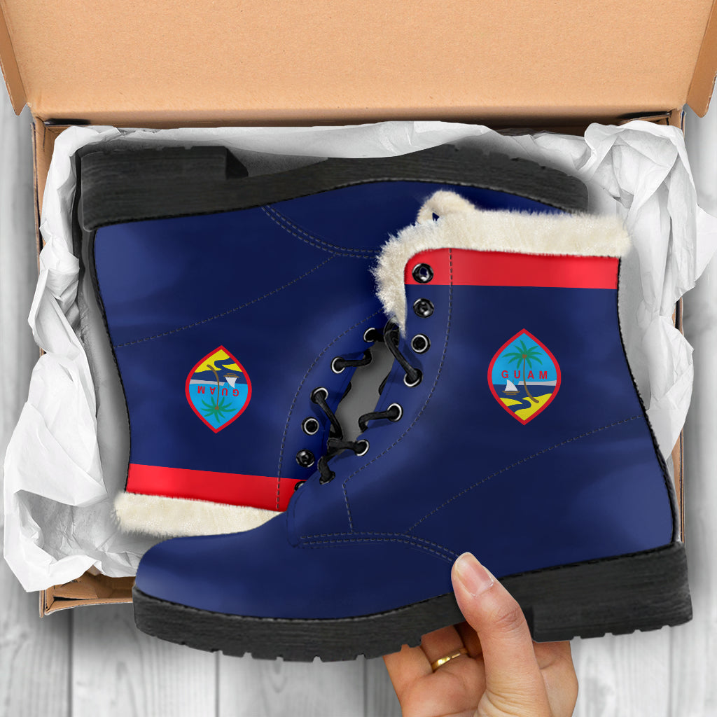 Guam Flag Faux Fur Leather Boots