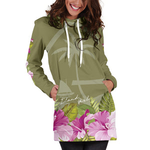 Guam Island Girl Hibiscus Olive Green Hoodie Dress