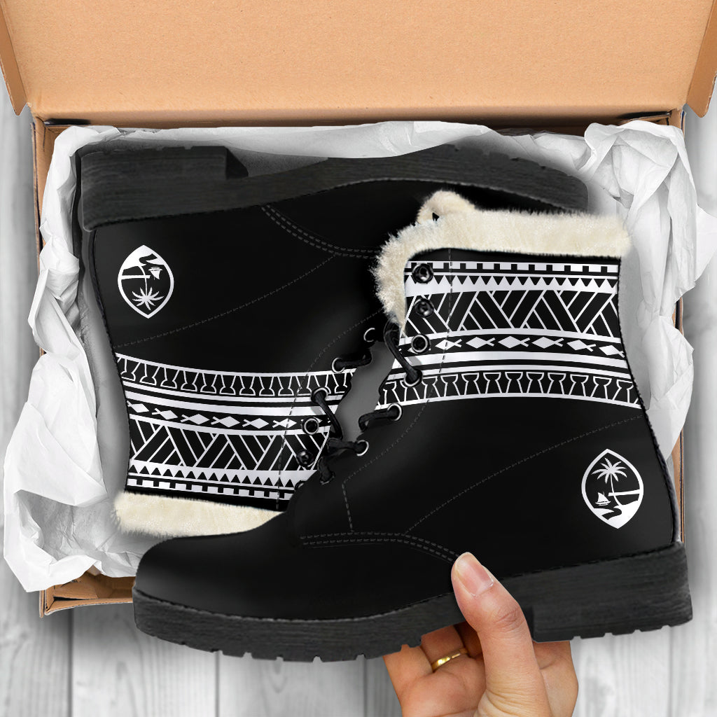 Guam Seal Tribal Black Faux Fur Leather Boots