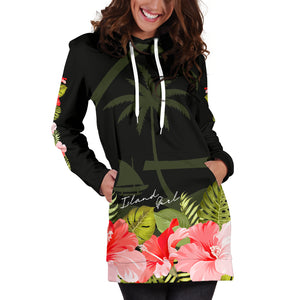 Guam Island Girl Hibiscus Black Long Hoodie Dress