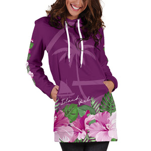 Guam Island Girl Hibiscus Purple Long Hoodie Dress