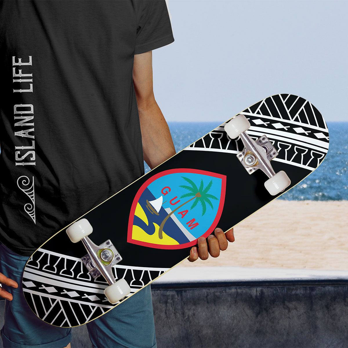 Guam Seal Black Tribal Skateboard