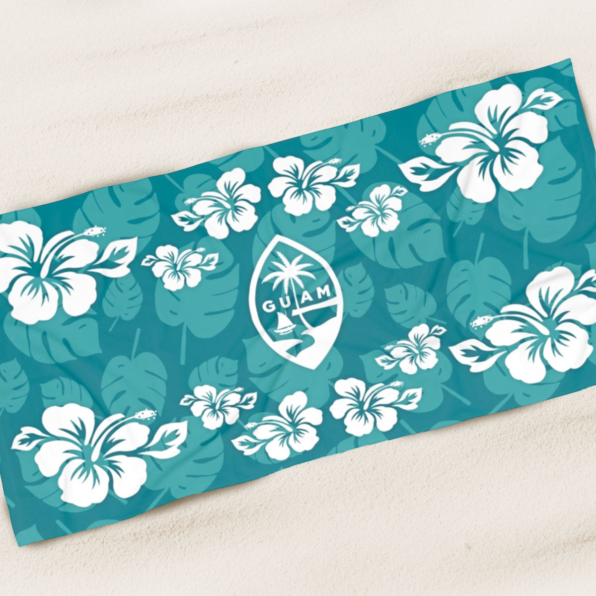 Guam Teal Hibiscus Beach Towel
