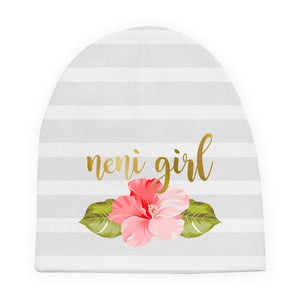 Neni Girl Hibiscus Striped Baby Beanie