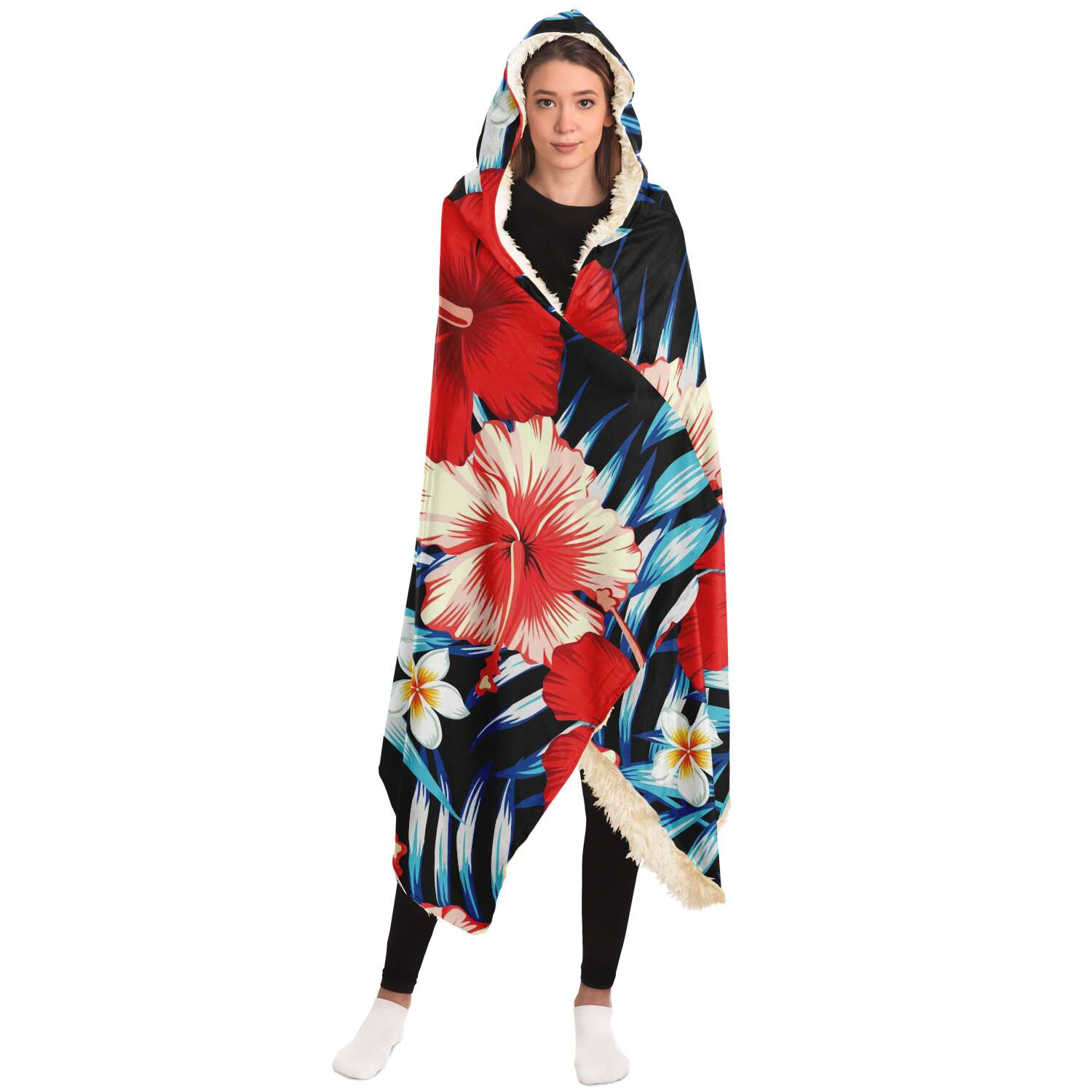 Guam Tropical Floral Premium Sherpa Hooded Blanket