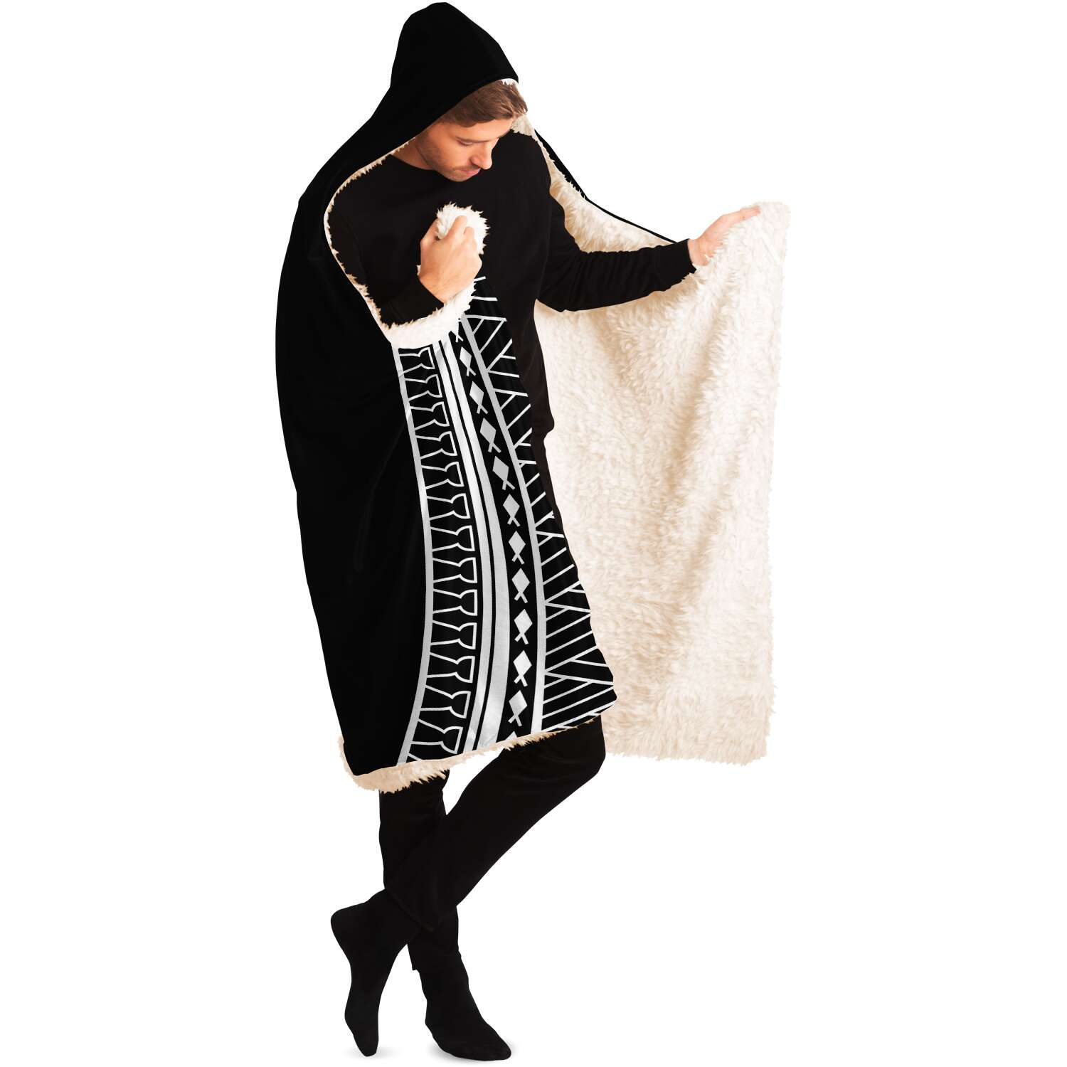 CNMI Tribal Black Premium Sherpa Hooded Blanket