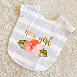 Neni Girl Hibiscus Striped Baby Bib