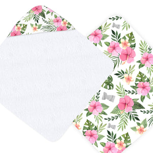 Latte Stone Pink Hibiscus Hooded Baby Towel