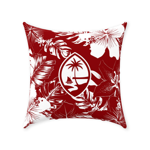 Guam Red Hibiscus Throw Pillow