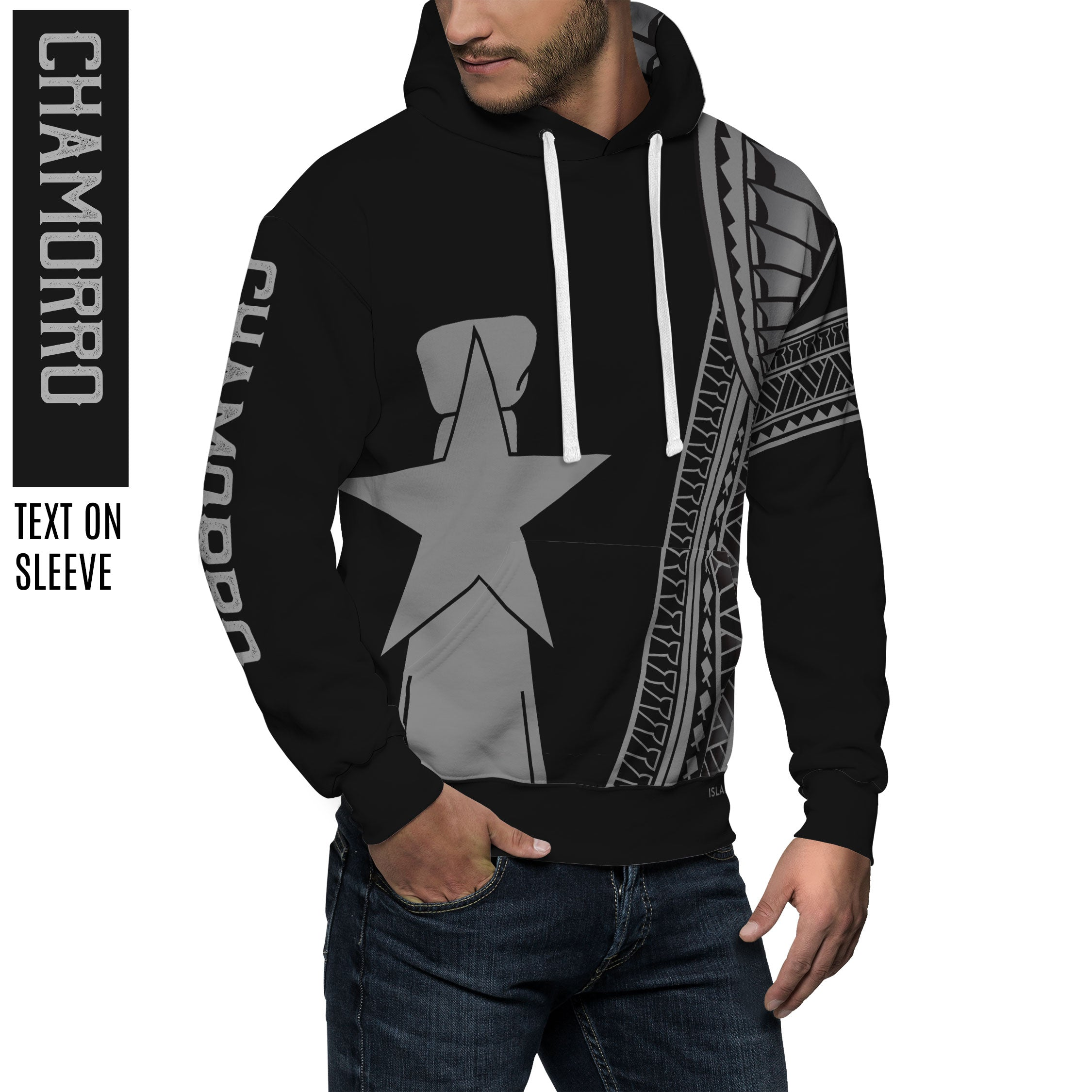 New CNMI Seal Chamorro Tribal Black Pullover Hoodie