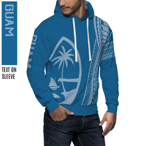New Guam Seal Tribal Blue Pullover Hoodie
