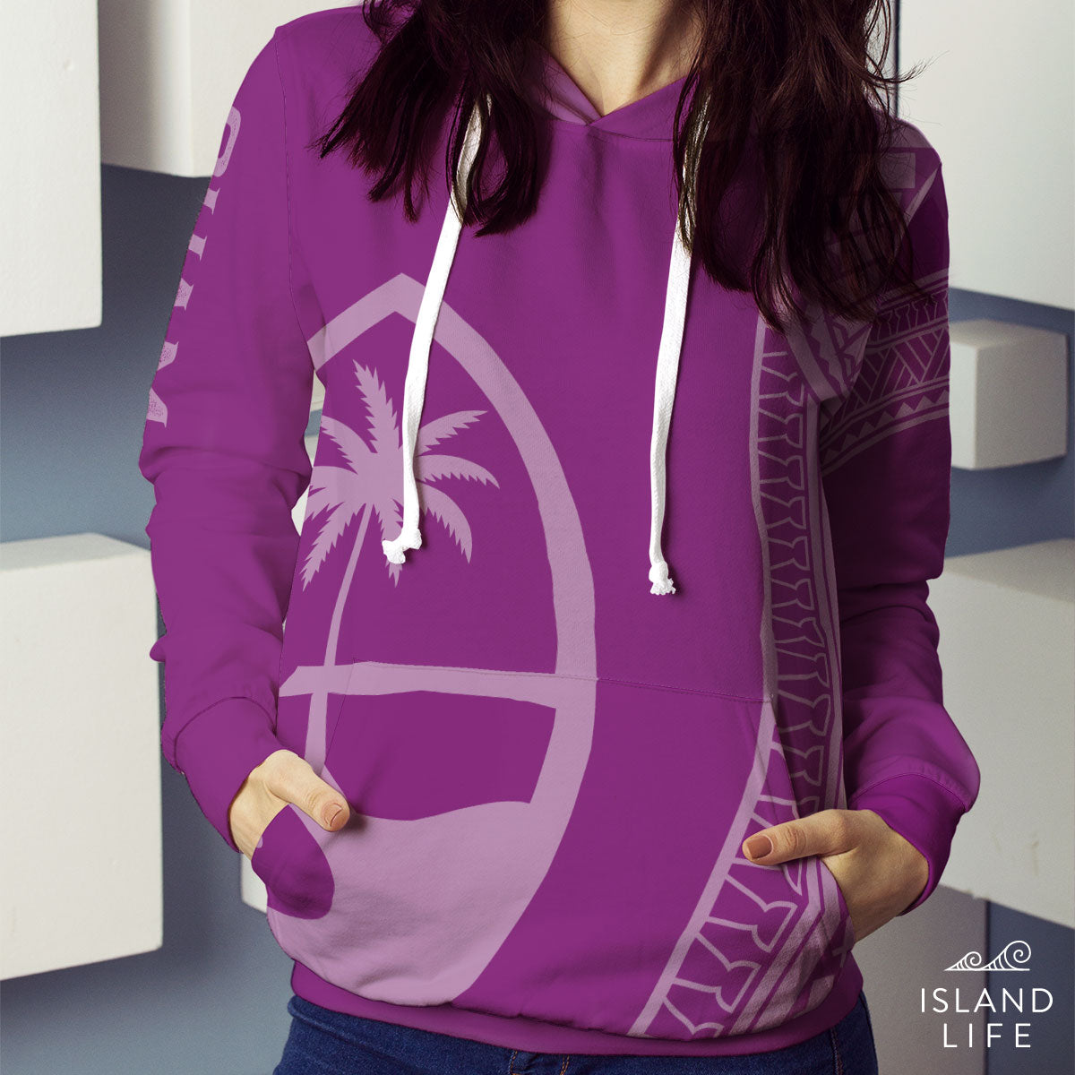 New Guam Seal Tribal Purple Pullover Hoodie