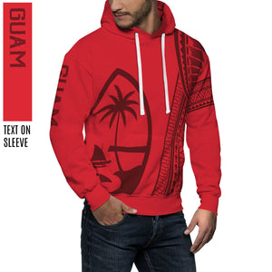 New Guam Seal Tribal Red Pullover Hoodie