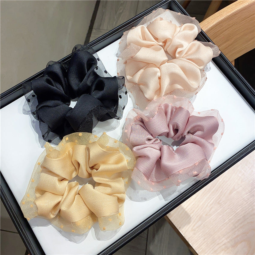 Set of 4 Organza Small Dot Hair Tie Pony