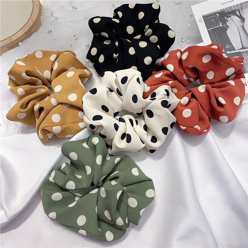 Set of 4 Elastic Polka Dot Ponytail Holder