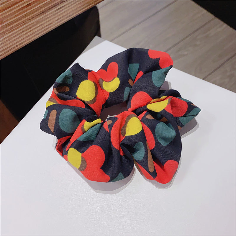 Set of 2 Colorful Floral Flamingo Solid Ponytail Hair Tie