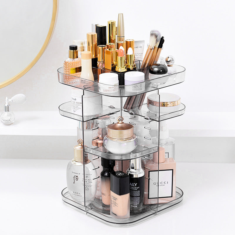 Square Rotating Adjustable Acrylic Cosmetic Storage