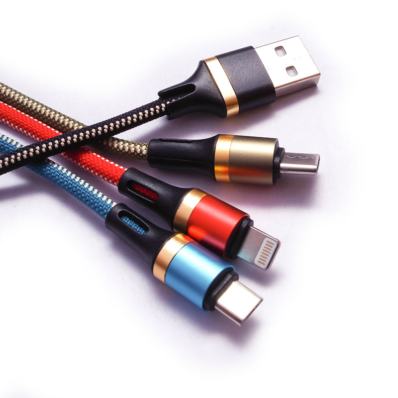 Colorful 3 in 1 High Quality Fast Charging Wire