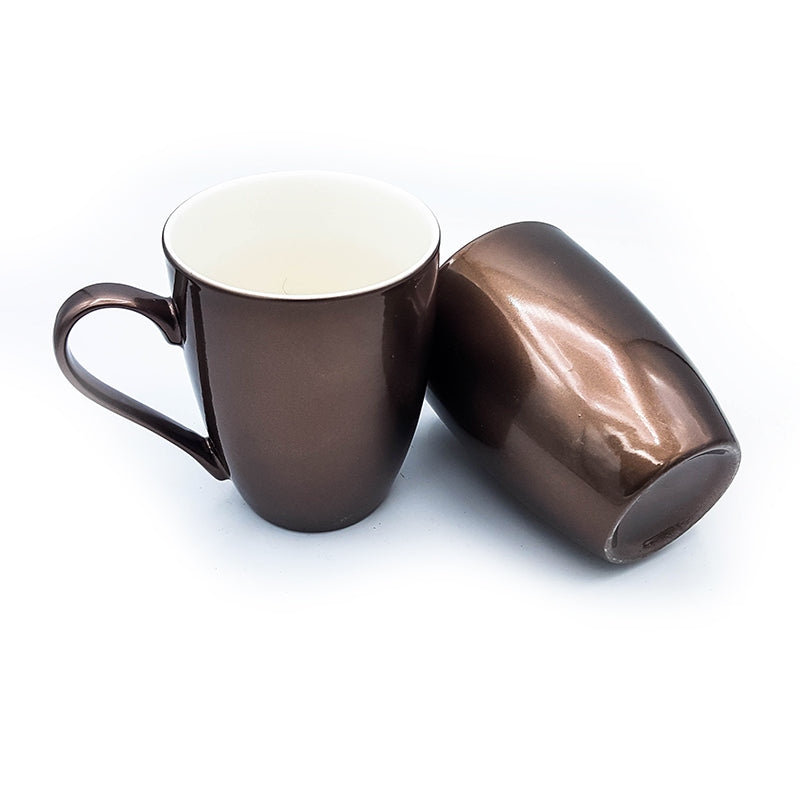 Set of 2 Nordic Style Metallic Glazed Ceramic Coffee Cup