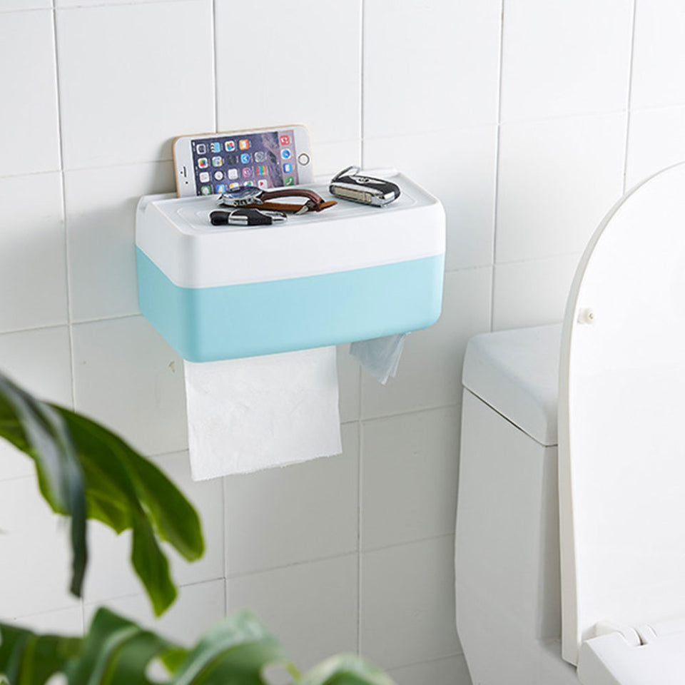Multi-Functional Self Adhesive Toilet Tissue Holder Box