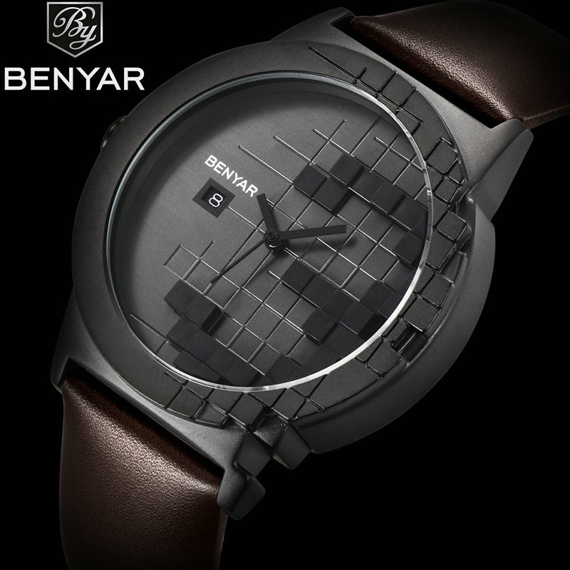 BENYAR 5117 Business Casual Men Watch Pure Black Dial Men Watch